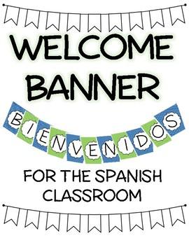 Spanish Welcome BIENVENIDOS Banner Green & Blue