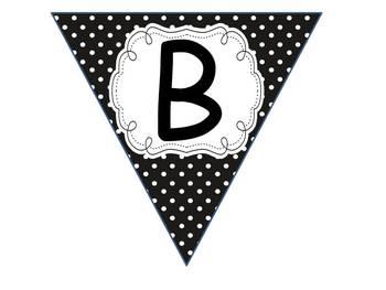 Spanish Welcome Banner Black Polka Dots