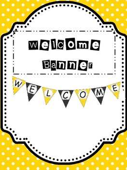 Spanish Welcome Banner Black and Yellow Dots