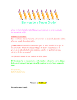 Spanish Parent Welcome Letter