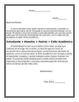 Spanish Welcome Letter- Editable!