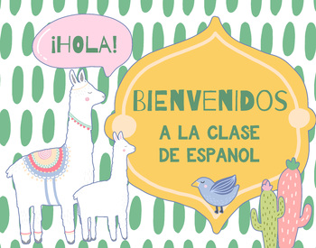Spanish Welcome Poster - Llama & Cactus Theme