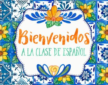Spanish Welcome Poster - Talavera Tile Theme