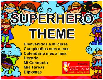 Spanish Welcome to my class Posters BIENVENIDOS SuperHero Theme