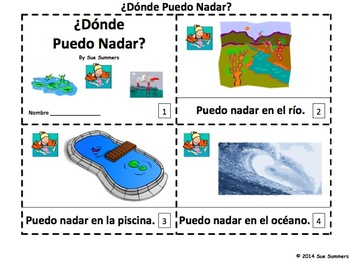 Spanish Where Can I Swim 2 Emergent Readers - Donde Puedo Nadar?