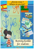 Spanish Where do you live?, Donde vives? booklet for beginners