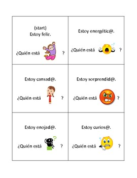 "Spanish ""Who Has"" Card Activity: Emotions"