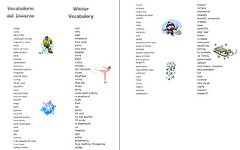 Spanish Winter 67 Word Bilingual Vocabulary Reference