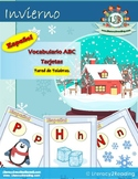 Spanish Winter ABC cards + Literacy Workstation Activities