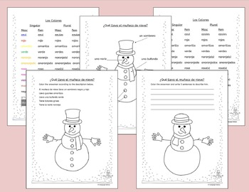 Spanish Winter Activities - Numbers, Colors and Clothing - Invierno