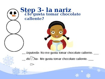 Spanish Winter Activities Snowman Glyph  Follow-along Powerpoint