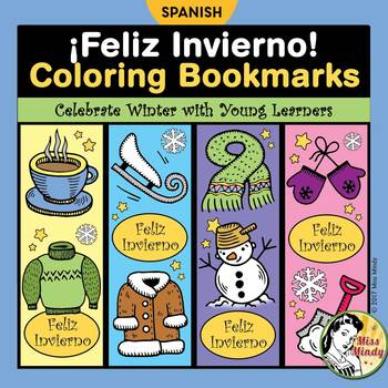 Spanish Winter Bookmarks for Coloring - El Invierno Marcadores de Libro