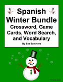 Spanish Winter Bundle of 4 - Puzzles, Vocabulary, and Game Cards