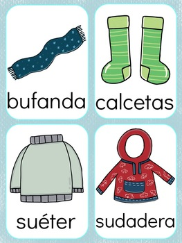 Spanish Winter Clothes Flashcards
