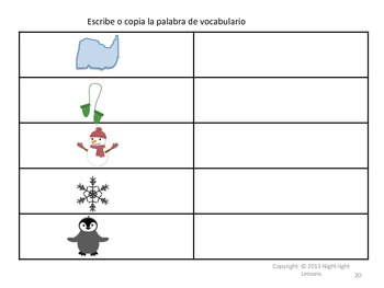 Spanish Winter Clothes Story and Activities