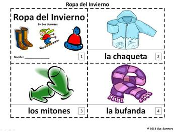 Spanish Winter Clothing 2 Emergent Readers - Ropa del Invierno