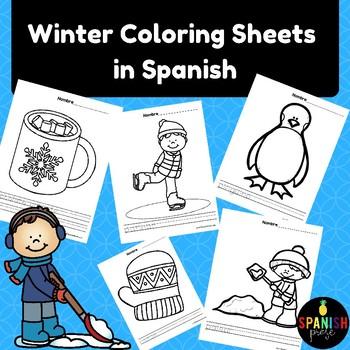 Spanish Winter Coloring Sheets (Invierno hojas de colorear)