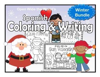 Spanish Winter Coloring & Writing Bundle