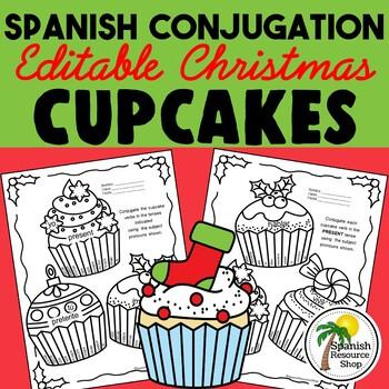 Spanish Christmas Conjugation Cupcakes_Editable