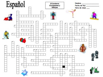 Spanish Winter Crossword Puzzle and Image IDs