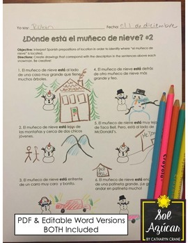 Spanish Winter - ¿Dónde está el muñeco de nieve? - Read and Draw - Beginning