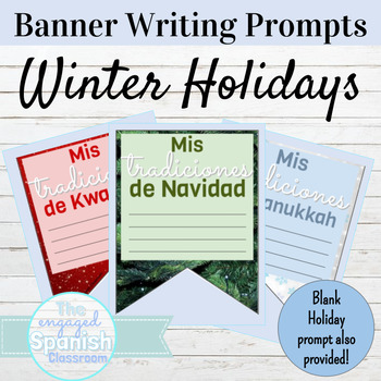 Spanish Winter Holiday Banner Writing Prompts
