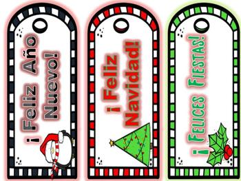 Spanish Winter Holiday Bookmarks
