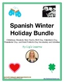 Spanish Winter Holiday Bundle: December-March Holiday Vocabulary and Activities!