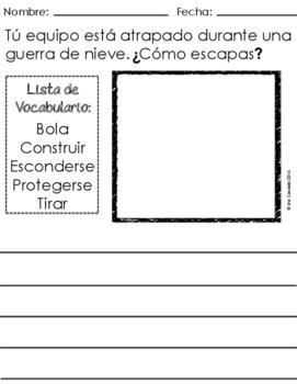 Spanish Winter Invierno Writing Prompts