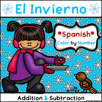Spanish Winter Math Fun / Two Digit Addition & Subtraction / Color ...