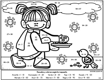 Spanish Winter Math Fun / Two Digit Addition & Subtraction / Color by Number