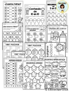 Spanish Winter Math Review (Kinder - 1st grade) / Repaso de Invierno Matemáticas