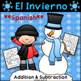 Spanish Winter Math / Snowmen Two Digit Addition & Subtraction / Color by Number