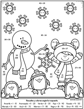 spanish winter math snowmen two digit addition subtraction color by number. Black Bedroom Furniture Sets. Home Design Ideas