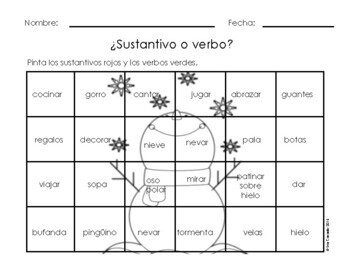 Spanish Winter Nouns and Verbs Identification and Sort