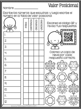 Spanish: Winter Place Value Math Stations