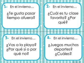 Spanish Winter Question Task Cards Speaking or Writing Activity