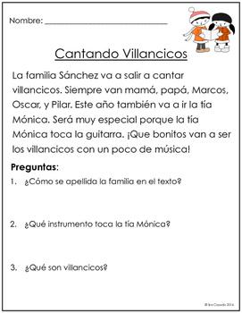 Spanish Reading Comprehension for Winter: No Prep!