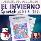 Spanish Winter El Invierno Vocabulary Coloring Worksheet
