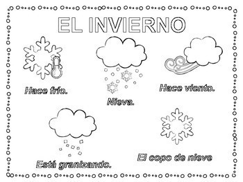 Spanish Coloring Pages Spanish Winter Weather El Invierno
