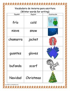 Spanish Winter Words for Writing