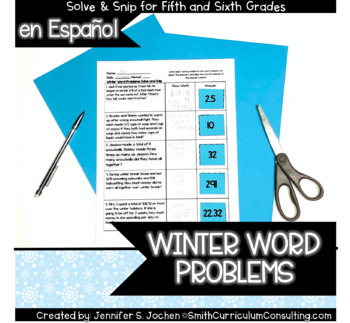 Spanish Winter Word Problems Solve and Snip- 5th and 6th Grade