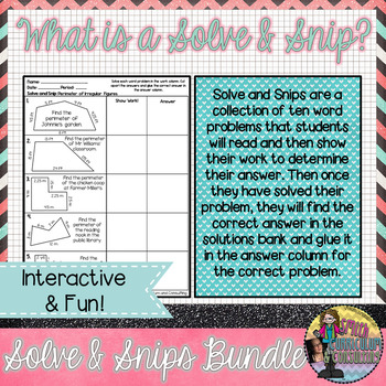 Winter Math Activity | Solve and Snip® | Math Station | 5th & 6th Math Review