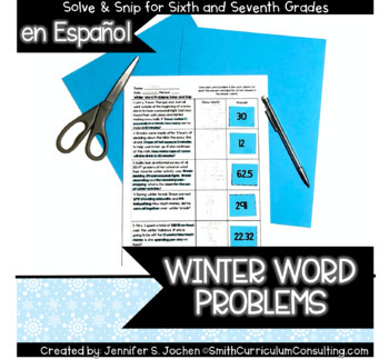 Spanish Winter Word Problems Solve and Snip®
