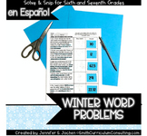 Winter Math Activity | Spanish Word Problems | Solve and S