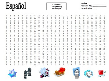 Spanish Winter Word Search Puzzle and Image IDs