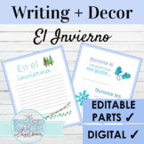 Spanish Winter Writing Prompts and Class Decor