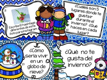 Spanish Winter Writing Prompts and Task Cards