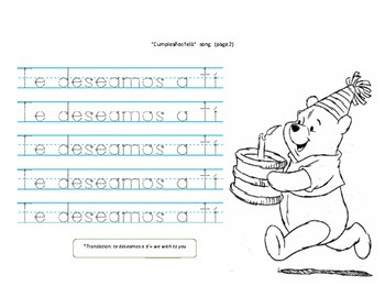 Spanish Woksheet. Cumpleaños feliz