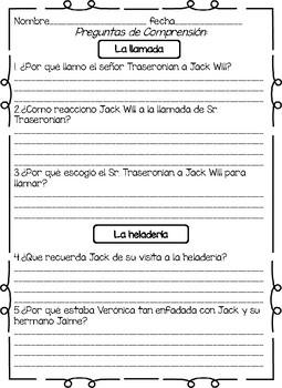 Spanish Wonder Book Study-La leccion de August -Jack